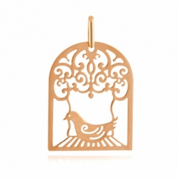 Pendentif en or jaune, cage et oiseau