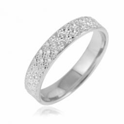 Alliance en or gris diamantée largeur 4 mm