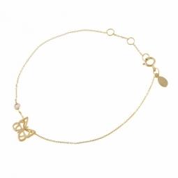 Bracelet en or jaune et diamant, papillon