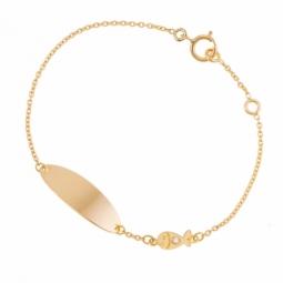 Bracelet identité en or jaune et diamant
