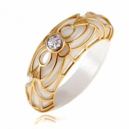 Bague céramique blanche en or jaune rhodié et diamants