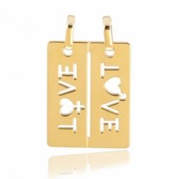 Pendentif en or jaune, sécable, motif LOVE, rectangulaire