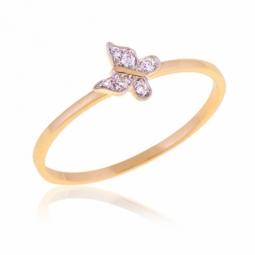 Bague en or jaune rhodié et diamants, papillon