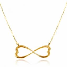 Collier en or jaune motif infini coeurs