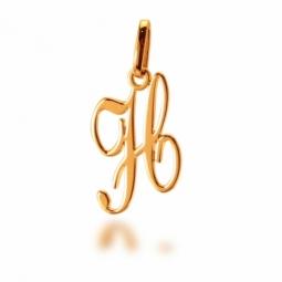 Pendentif alphabet en or jaune, lettre H