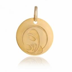 Médaille vierge à l'enfant, or jaune