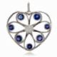 Pendentif en or gris, saphirs et diamants - A