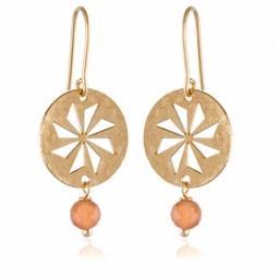 Boucles d'oreilles  en or jaune et pierre de lune orange