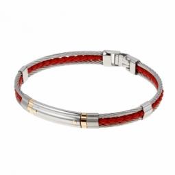 Bracelet en or jaune, cuir et cable acier