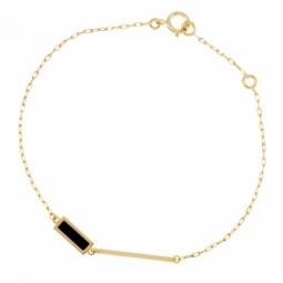Bracelet en or jaune et laque noire, rectangles