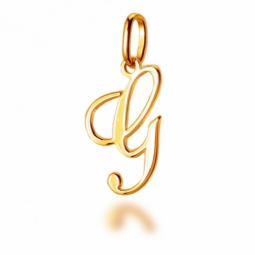Pendentif alphabet en or jaune, lettre G