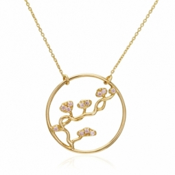 Collier en or jaune et oxydes de zirconium, fleurs de cerisier