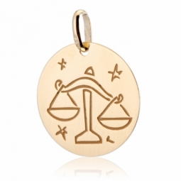 Médaille zodiaque en or jaune, balance