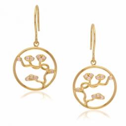 Boucles d'oreilles en or jaune et oxydes de zirconium, fleurs de cerisier