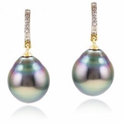 Boucles d'oreilles  en or jaune rhodié, perle de culture de Tahiti et diamants