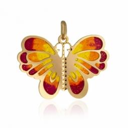 Pendentif en or jaune et laque, papillon