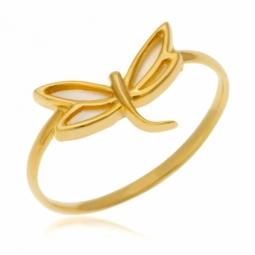 Bague en or jaune et nacre, libellule