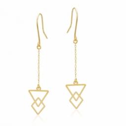 Boucles d'oreilles  or jaune, triangle et losange