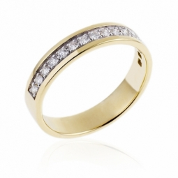 demi alliance or jaune et or rhodié 1 rang de diamants
