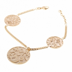 Bracelet en plaqué or, jetons motifs sablés