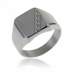 Chevalière rectangle en argent rhodié, diagonale diamantée