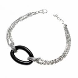 Bracelet en argent rhodié, maille forçat, céramique noire et oxydes de zirconium
