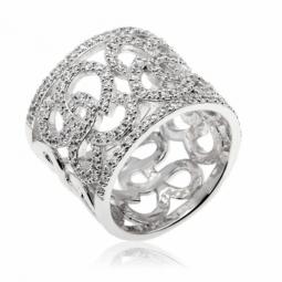 Bague en argent rhodié motifs arabesques, oxydes de zirconium