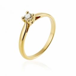 Bague solitaire en or jaune, diamant,4 griffes