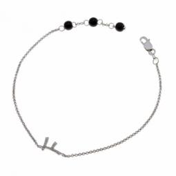 Bracelet en argent rhodié lettre F, diamants et agates noires