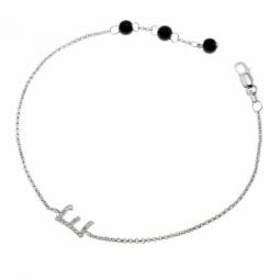 Bracelet en argent rhodié lettre E, diamants et agates noires
