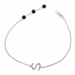 Bracelet en argent rhodié lettre S, diamants et agates noires