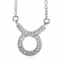 Collier en argent rhodié, signe du zodiaque taureau, oxydes de zirconium