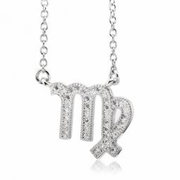 Collier en argent rhodié, signe du zodiaque vierge, oxydes de zirconium