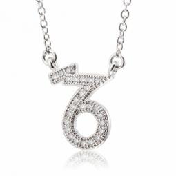 Collier en argent rhodié, signe du zodiaque capricorne, oxydes de zirconium