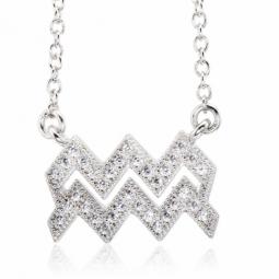 Collier en argent rhodié, signe du zodiaque verseau, oxydes de zirconium