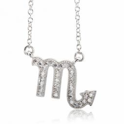Collier en argent rhodié, signe du zodiaque scorpion, oxydes de zirconium