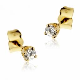 Boucles d'oreilles en or jaune, diamant, 4 griffes