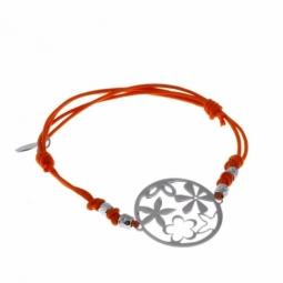 Bracelet en argent rhodié motifs fleurs et cordon de coton orange