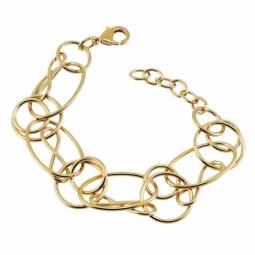 Bracelet en plaqué or, cercles et spirales