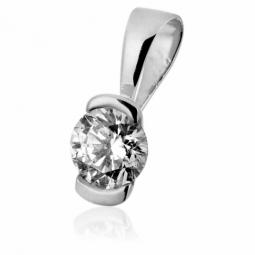 Pendentif en or gris, diamant , serti demi clos
