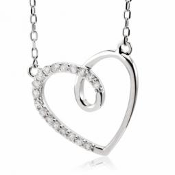Collier en argent rhodié, coeur et oxydes de zirconium