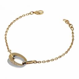 Bracelet en plaqué or et rhodié avec des oxydes de zirconium