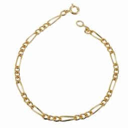 Bracelet en plaqué or, maille cheval alternée 1-3