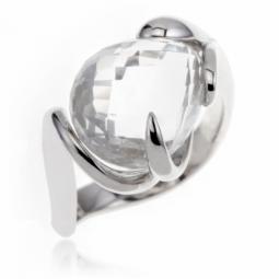 Bague en argent rhodié, cristal de roche