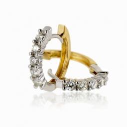 Boucles d'oreilles en 2 ors, diamants
