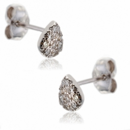 Boucles d'oreilles en or gris, diamants