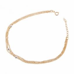 Chaine de cheville en plaqué or, triple chaine et perles synthétiques