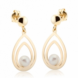 Boucles d'oreille en or jaune, perle de culture
