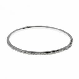 Bracelet jonc ouvrant en argent rhodié, pavage en oxydes de zirconium