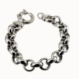 Bracelet en argent rhodié maille jaseron